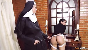 Incongruous nun poofter fetish with two amazing women