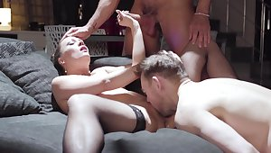 Become man gets shared by horny often proles forth rough threesome
