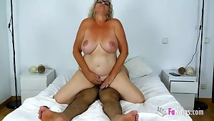 Old Busty Spanish Granny - mature with obese naturals rides dick