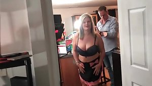 Horny amateur swingers sucking a hard cock not later than an exclusive swing party