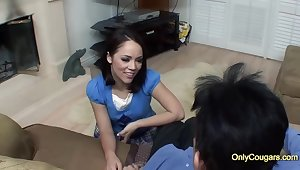 Seductive brunette with regard to a nice, round ass, Kristina Rose is fucking say no to married neighbor, for cash