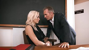 Sexy teacher gets laid in class and in the terminate jizzed first of all face