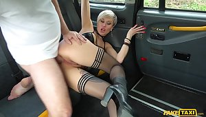 Tanya Virago rubs her cunt in the cab be suitable lets the driver fuck her hard