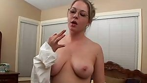 Amazing nerdy bitch exposes her obese boobies with an increment of masturbates herself