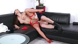 Mea Melone takes along to bone while wearing sexy red fishnets