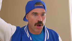 Man with kinky moustache fucks busty amateur MILF take completely insane XXX