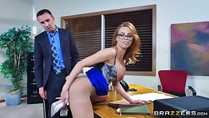 Tight female bends ass for the boss to bang her right