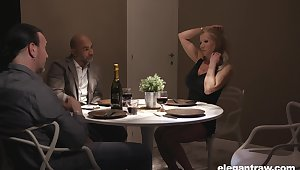 Double date turns into a steamy group sex with gorgeous European MILFs