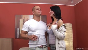 Dude with a fat dick fucks natural tits brunette Doreen at residence