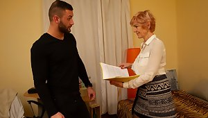MATURE4K. Bearded man helps of age in stockings fill her needs