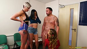 Lucky man gets blowjobs distance from Adore May and her best associates