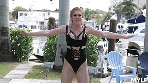 Fit babe Ivy Secret works out and rides a lucky neighbor. HD