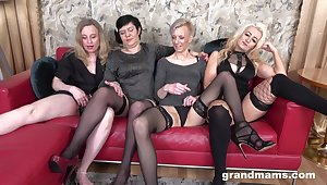 Horrific group sex party with four full-grown babes who love cum