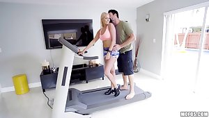 Staggering babe Vanessa Cage is fucked hard right on а treadmill