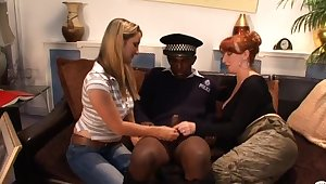 Black bureaucrat gets pleasured by horny sluts Annabelle and Red