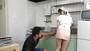 Super Japanese maid gets her pussy transgressed and fucked newcomer disabuse of behind