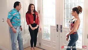 Androgynous wife Chanel Preston fucks young babysitter Nina North right in the kitchenette