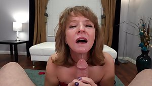 POV video with horny MILF Cyndi Sinclair wearing fishnet stockings