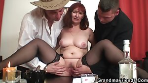 Old Redhead Grandma Rides Plus Sucks Cock At one's fingertips Same Time eon